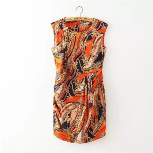 Mode Frauen Mini Kleid Floral Print Zipper O-Neck ärmelloses schlanke elegante Party Clubwear Sommerkleid Orange/Grau
