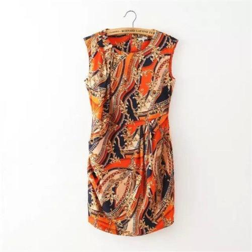 Fashion Floral Print Round Neck Sleeveless Women's Mini Dress