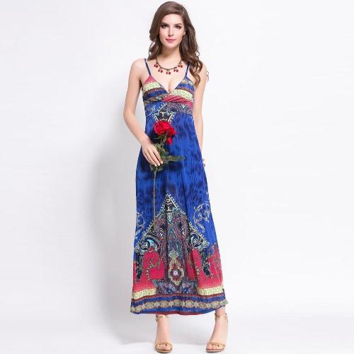 Neue Sommer Frauen böhmischen Maxi Kleid Vintage Print tiefen V-Ausschnitt gepolsterte Spaghetti Strap Strand Sexy Kleid blau