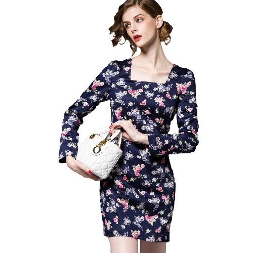 New Women Mini Cotton Dress Floral Print Long Sleeves Zipper Elegant High Quality Slim Party Dress Blue
