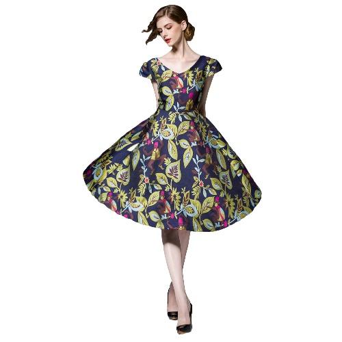 Fashion Women Midi Dress Floral Leaf Print Backless V-Neck Short Sleeves Elegant Vintage Party A-Line Dress Blue