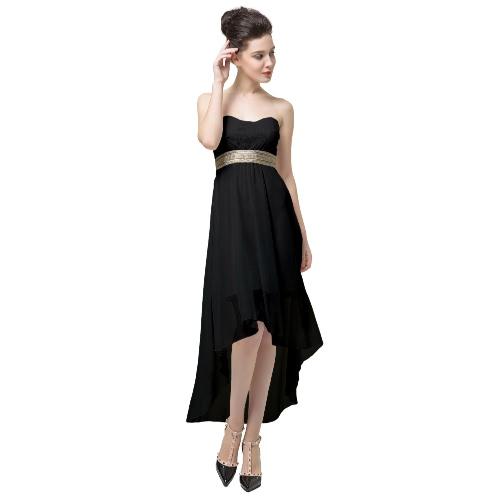 Neue Mode Frauen kleiden Lace Bandeau Top Gürtel aus Schulter öffnen wieder unregelmäßige Saum Sexy Teil Kleid