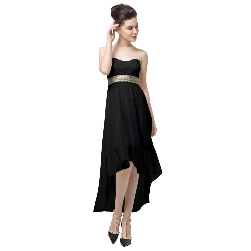 New Fashion Women Dress Lace Bandeau Top Belt Off Shoulder Open Back Irregular Hem Sexy Part Dress