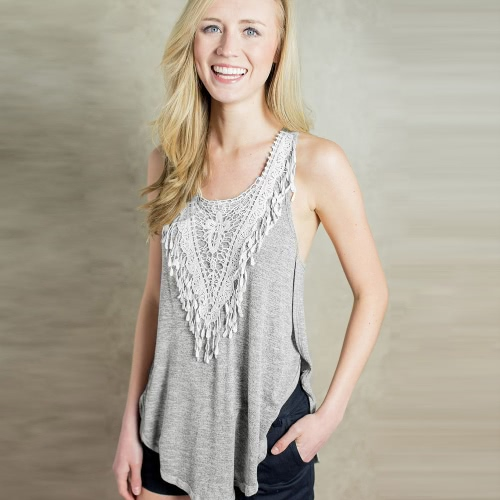 Nova moda mulheres t-shirt Crochet Lace lado Splits redondo pescoço sem manga blusa Casual cinza