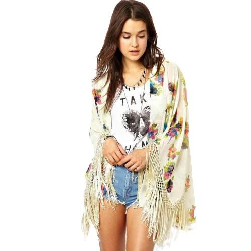 Nowa moda damska Chiffon Cardigan Floral Print Tułów Flare Sleeve Outwear Beżowy