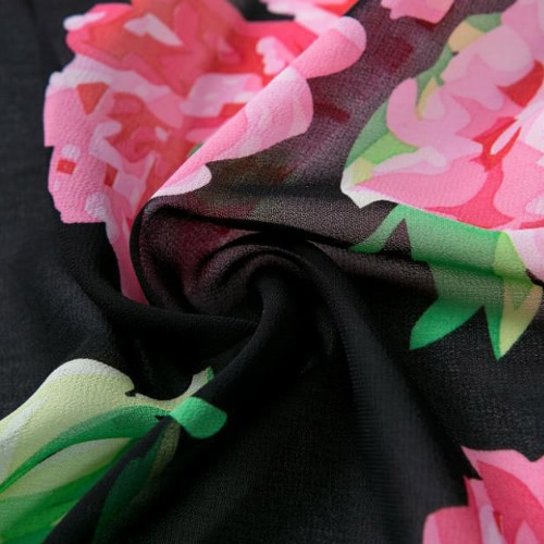 TOMTOP / Nova moda mulheres Cardigan do Chiffon Floral impressão Tassel manga longa Casual Outwear preto