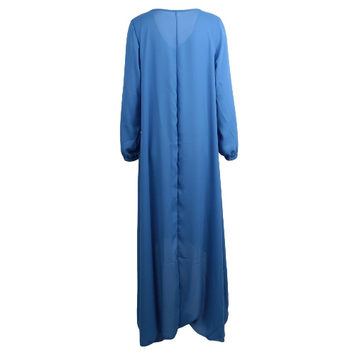 Новый Европы женщин шифоновое платье сплошной цвет подол нерегулярные V шею длинным рукавом большого размера платье фото