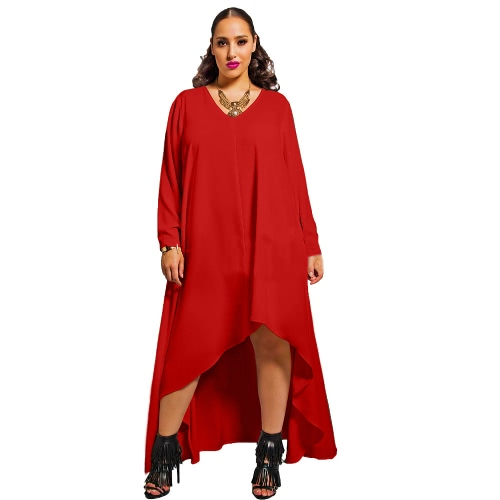 Europa las mujeres vestido de Gasa Color sólido Irregular dobladillo V cuello manga larga moda gran tamaño Vestido