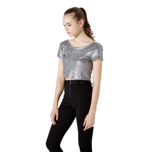 Nueva moda mujer cosecha superior espalda abierta con lentejuelas ronda cuello manga corta ajuste Bodycon sólido Sexy Tee