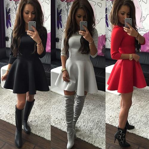 TOMTOP / As mulheres da moda vestem manga 3/4 do-garganta Zipper traseiro cor sólida forrada A Mini vestido preto/vermelho/cinza
