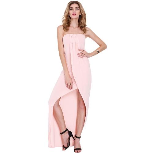 Nuevo Sexy mujer vestido Bandeau de hombro drapeado asimétrico Prom partido Vestido tubo vestido rosado