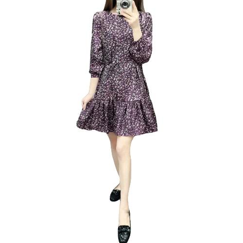 Nuova moda donna abito stampa floreale collo rotondo manica lunga con laccetti balza orlo vestito Casual Viola