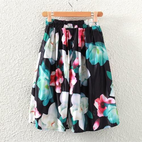 Mujeres retras falda Floral impresión elástico plisado una línea de cintura alta cierre Midi falda negro