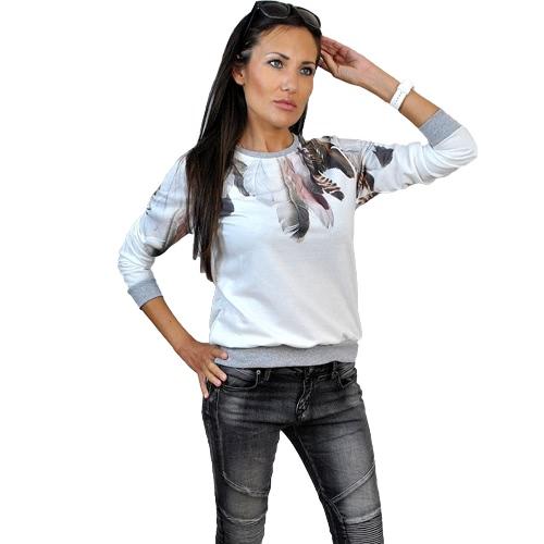 Nueva moda mujeres suéter Casual pluma puente grabado con capucha O cuello manga 3/4 sudadera superior negro, azul y blanco