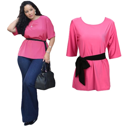 New Women Plus Size Blouse Solid Color Belt O-Neck Half Sleeves Loose Casual Elegant Top T-shirt Rose