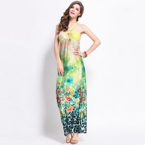 Nueva moda mujer vestido leopardo Floral impresión cabestro escote Cruz correa posterior playa Sexy vestido gris/verde