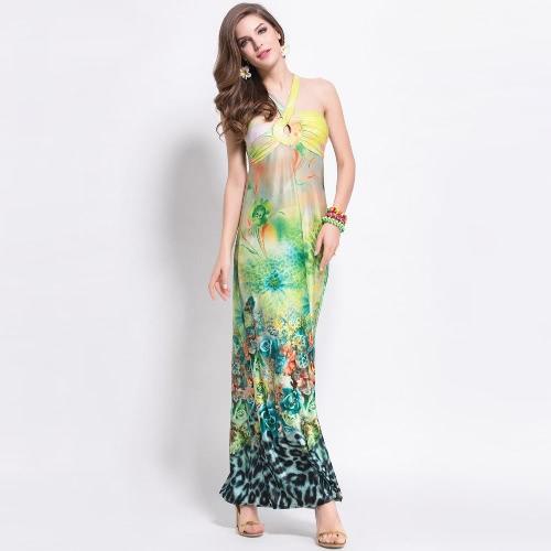 TOMTOP / Nueva moda mujer vestido leopardo Floral impresión cabestro escote Cruz correa posterior playa Sexy vestido gris/verde