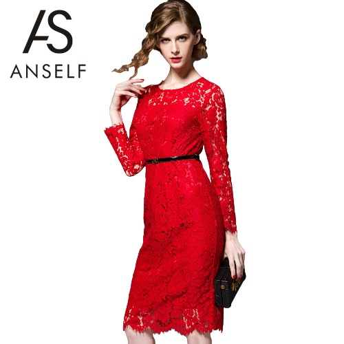 Nueva mujer elegante encaje vestido hueco hacia fuera cuello redondo manga larga arco cierre forrado Vestido de fiesta gris/rojo