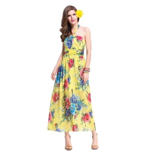 Verão as mulheres vestido de Chiffon da cabeçada Floral Print gravata cintura Long Boho praia vestido de verão amarelo