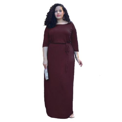 Nueva elegante mujer Plus tamaño vestido Maxi correa vendaje sólido Bodycon noche fiesta coctel vestido largo rosa oscuro azul/púrpura