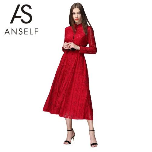 New Fashion Women Lace Dress Round Neck Long Sleeve Side Zipper Lined Elegant Party Dress Burgundy