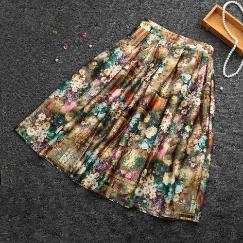 Nueva moda mujeres Midi falda Floral Color impresión bloque alta cintura elástico vestido plisado falda Vintage amarillo