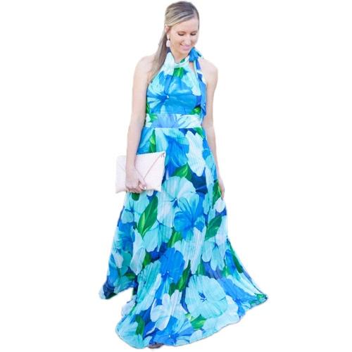 Sommer Damen Maxi Kleid Chiffon Pleat Floral Print Halfter Hals hoher Taille Strand Sommerkleid blau