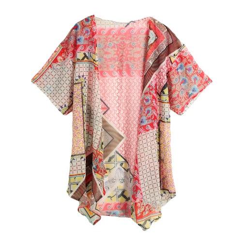 Mulheres vintage quimono do Chiffon geometria impressão metade morcego mangas soltas Cardigan pura Outerwear blusa vermelha