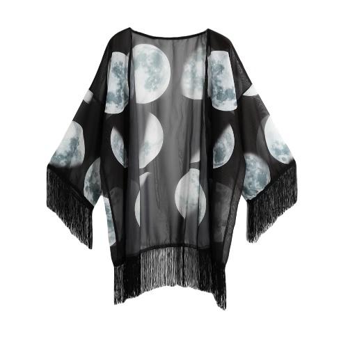 Mujeres Vintage Kimono gasa estrellas imprimir 3/4 Bat mangas sueltas Rebeca pura ropa blusa negro