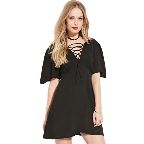 Mode Frauen kleiden oben vorne tief V Neck kurze Ärmel zurück Zipper Mini Kleid schwarz Spitze