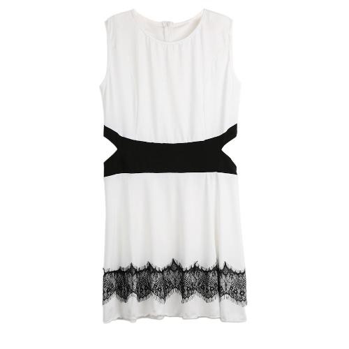 Mujeres sexy Mini vestido cortan contraste encaje O vestido sin mangas cuello espalda Zip Skater Vestido de tirantes blanco/negro