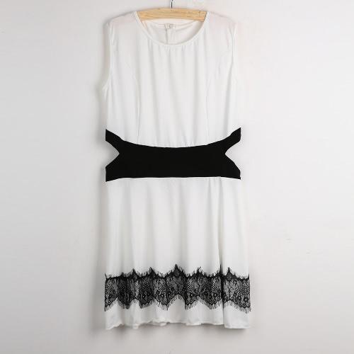 Sexy Damen Minikleid ausgeschnitten Kontrast Lace ärmellos Marone O Hals Rücken Zip Skater Kleid Sommerkleid weiß/schwarz