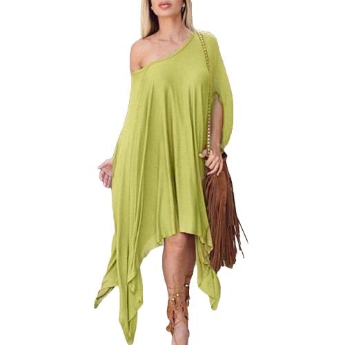 Nova moda mulheres vestem uma peça-Poncho Design Asmmetric mergulhado Hemline redondo pescoço meia manga tamanho grande Casual