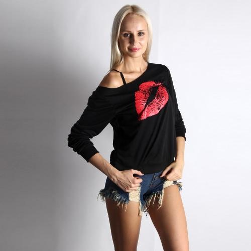 Nueva moda mujer camiseta Big Lips impresión de manga larga jersey Casual camisa suelta superior blanco/rojo