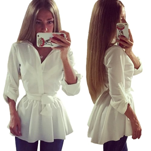 Moda mulheres camisa vestido botão frontal cor sólida manga longa Correia magro blusa Casual Tops Mini vestido branco novo