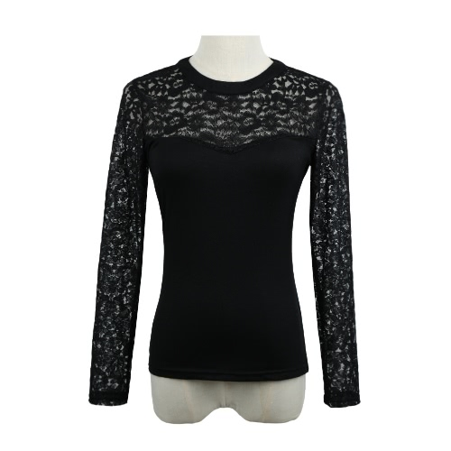 New Europe Women Sexy Blouse Lace Splice Hollow Out Long Sleeve Casual Party Club Pullover Shirt T-Shirt Tops Black