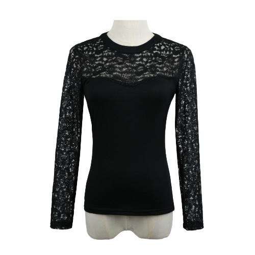 Nueva Europa mujer Sexy blusa encaje empalme hueco hacia fuera manga larga Casual Fiesta Club Jersey camisa camiseta tapas negro