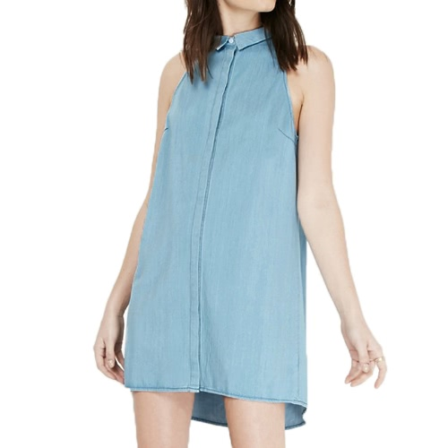 Sommer Damen Denim Kleid Mini Turn-Down-Kragen ärmellose Button Shirt Kleid hellblau