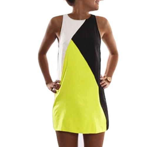 Moda mujer vestido cuello redondo sin mangas elásticas Casual Mini vestido de la vendimia de empalme
