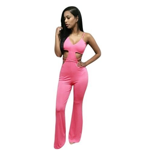 New Sexy Women Flared Leg Jumpsuit Spaghetti Strap Strappy Open Back Cutout Waist Rompers Rose/Beige