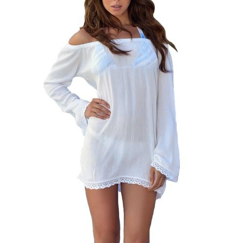 Moda mujer vestido suelto Slash cuello de hombro manga larga encaje dobladillo ropa vestido blanco