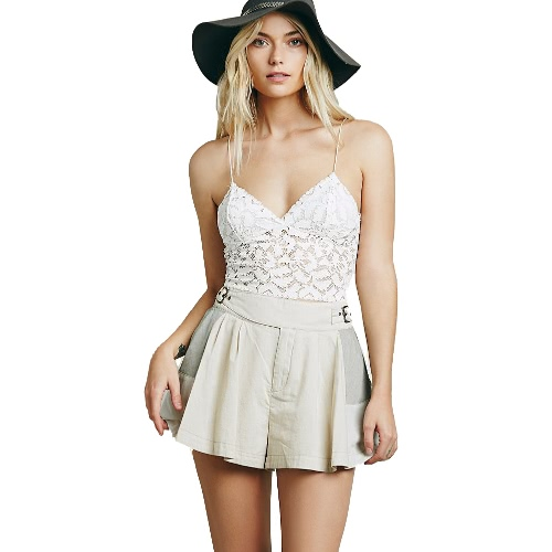 Mulheres sexy do tanque Crop Top Lace Hollow v-Neck colete Casual magro sem mangas curtas Tee branca