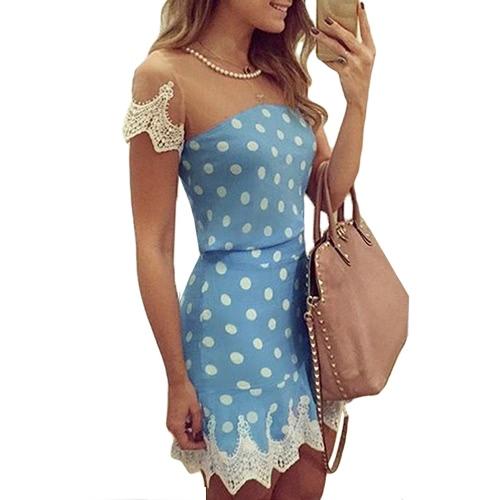 Mulheres Sexy Mini vestido malha Splice Crochet Lace Dot manga curta Imprimir colar magro elegante festa Clubwear azul novo