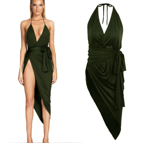Sexy Damen Minikleid Neckholder Gürtel unregelmäßig aufgeteilt Saum ärmellos lässig Bodycon Club Slip Kleid Khaki/Black/Dark Green