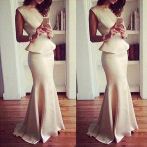 Mulheres novas blusa Maxi saia longa sereia Hem Zipper sólida sem mangas Bodycon elegante duas peças conjunto bege