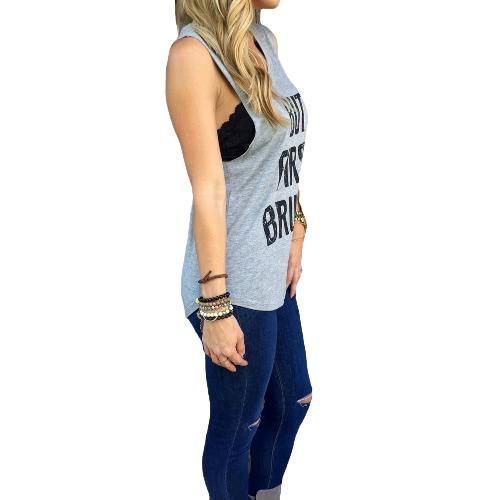 Neue Fashion Damen Weste Brief drucken asymmetrische Saum ärmellos schlanke lässig Tank Top Bluse T-shirt grau