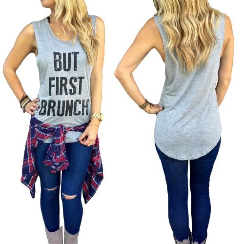Nova moda mulheres colete carta impressão bainha assimétrica sem manga blusa Casual magro blusa t-shirt cinza
