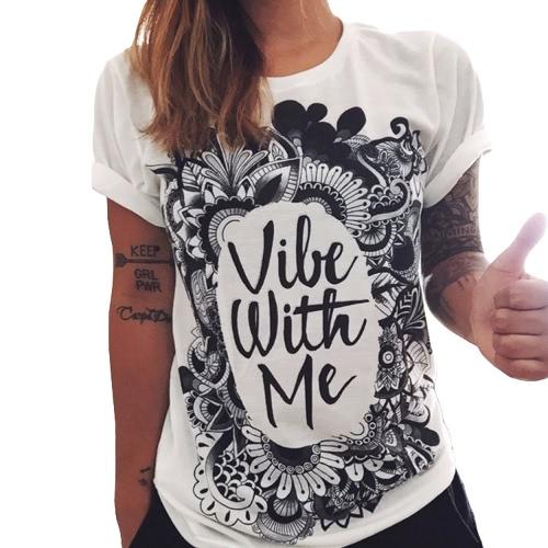 New Europe Fashion Women Cotton T-Shirt Flower Print Letter Graffiti O Neck Short Sleeve Casual Tops Tee White