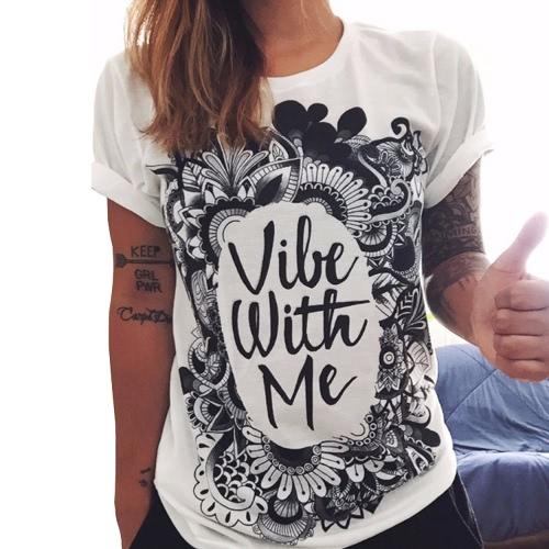 Nueva Europa moda mujeres algodón camiseta flor carta impresión Graffiti O cuello manga corta Casual Tops Tee blanco