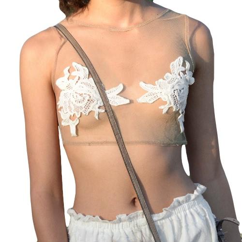 Nuove donne Sexy ritagliare pizzo Crochet superiore puro maglia giro collo senza maniche Canotta Beige
